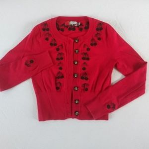 Forever 21 Red Hot & Cherries Sweater Jacket Sz. S